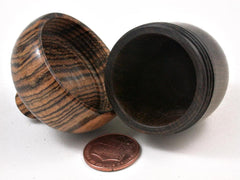 LV-2975 Black Chacate & Bocote Acorn Pill Box, Engagement Ring Box-SCREW CAP