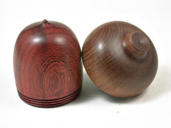LV-3031  Padauk & Tamboti Acorn Wooden Pill Holder, Ring Box, -SCREW CAP