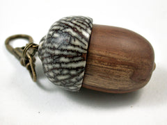 LV-3109  Mt. Mahogany & Betelnut Acorn Box, Pill Holder, Compartment Pendant-SCREW CAP