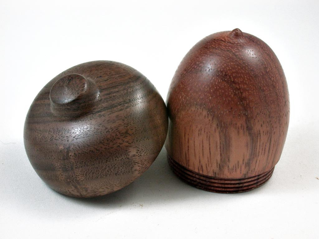 LV-2924 Wooden Acorn Jewelry, Ring Box, Pill Box  from Red Zebrawood & Black Walnut-SCREW CAP