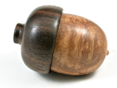 LV-2969  Brown Mallee Burl & Black Walnut Wooden Acorn Jewelry, Ring Box, Pill Box-SCREW CAP