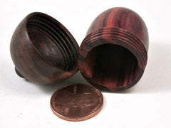 LV-2803 Tulipwood & Manzanita Burl Acorn Ring Box, Pill Box-SCREW CAP