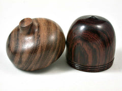 LV-3042  Cocobolo & Mora Acorn Pill Box, Jewelry Box, Engagement Ring Box-SCREW CAP