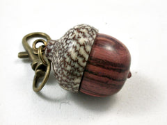 LV-2625 Tulipwood & Betelnut Acorn Pendant Box, Charm, Pill Holder-SCREW CAP