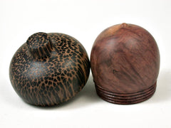 LV-2941 Wooden Acorn Jewelry, Ring Box, Pill Box  from Red Mallee Burl & Black Palm-SCREW CAP
