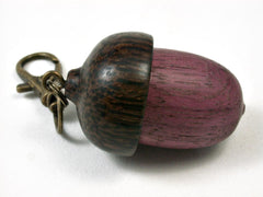 LV-2771  Purpleheart & Black Palm Acorn Pendant Box, Pill Fob-SCREW CAP