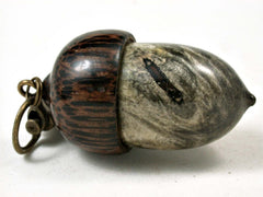 LV-3058  Buckeye Burl & Black Palm  Acorn Box, Pill Holder, Compartment Pendant-SCREW CAP