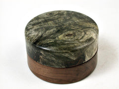 LV-2853  Buckeye Burl & Tamboti Flat Pill Box, Ring Holder, Jewelry Box-SCREW CAP