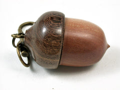 LV-2807  Manzanita & Brown Ebony Acorn Pendant Box, Pill Fob, Secret Compartment-SCREW CAP