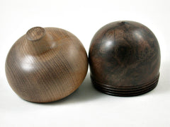LV-3159  Black Walnut Burl & Bay Laurel  Acorn Pill Box, Jewelry, Engagement Ring Box-SCREW CAP