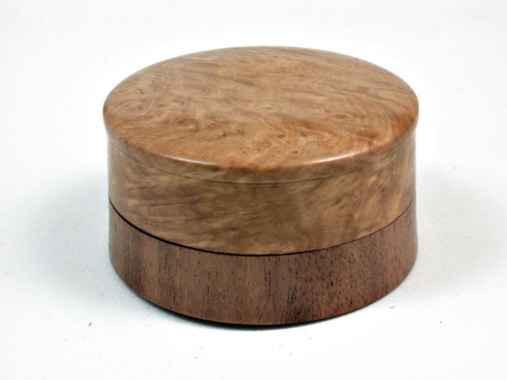 LV-2957 Brown Malle Burl & Acacia Flat Pill Box, Ring Holder, Jewelry Box-SCREW CAP