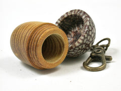 LV-2906 Osage Orange & Betel Nut Acorn Pendant Box, Keychain, Pill Fob-SCREW CAP