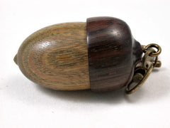 LV-3054  Verawood & Rosewood Acorn Box, Pill Holder, Compartment Pendant-SCREW CAP