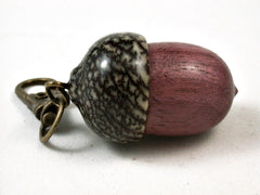 LV-2714  Purpleheart & Betelnut Acorn Pendant Box, Pill Fob-SCREW CAP