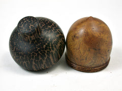 LV-2261 Nargusta Burl & Black Palm Acorn Jewelry, Ring Box, Pill Box, Trinket Box-SCREW CAP