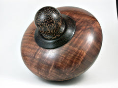 LV-2962  Curly Koa Threaded Vessel, Urn with Black palm Cap and Inlay Accent