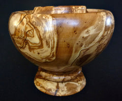 LV-330  Olive Burl Wood Turned Pedestal Vessel, Footed Vase, Wood Bowl