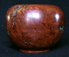 LV-321 Manzanita Burl Wood Turned Vase, Bowl, Hollow Form  with Lichen Inlay-NICE