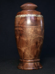 LV-967  Camphor Burl & Thinwin Threaded Urn,  Lidded Trinket Box, Jewelry Box, Treenware