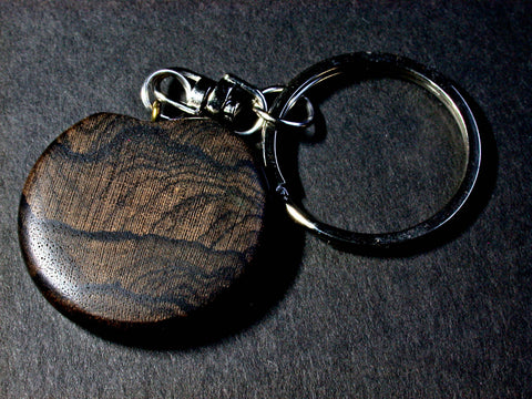 LV-1040 Ziricote Wooden Disc Keychain, Pendant, Charm-Hand Made
