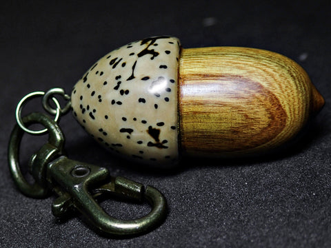 LV-1097  American Smoketree & Palm Nut  Acorn Box, Keychain, Pill Fob, Pendant-SCREW CAP