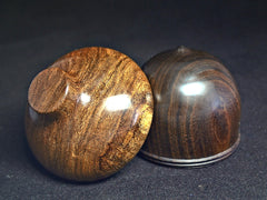 LV-1161 Texas Ebony & Pecan Hand Turned Wooden Acorn Trinket Box, Keepsakes, Jewelry Box-SCREW CAP
