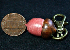 LV-1226  Pink Ivory & Lignum Vitae Acorn Box, Bag Charm, Cremation Pendant-SCREW CAP