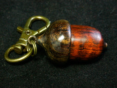 LV-1233 Snakewood & Burmese Blackwood Acorn Box, Keychain, Pill Fob, Bag Charm, Pendant-SCREW CAP