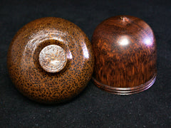 LV-1231 Snakewood & Red Palm Acorn Box, Pill Fob, Jewelry, Ring Box, Keepsake Box-SCREW CAP
