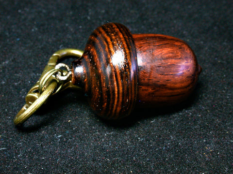 LV-1244  Siam Rosewood & Cocobolo Acorn Box, Keychain, Pill Fob, Bag Charm, Pendant-SCREW CAP