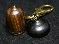 LV-1246 Lignum Vitae & Blackwood Acorn Box, Keychain, Pill Fob, Bag Charm, Pendant-SCREW CAP