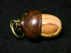 LV-1248 Bethlehem Olive & Ironwood Acorn Box, Keychain, Pill Fob, Memorial Pendant-SCREW CAP