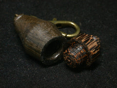 LV-1253 Irish Bog Oak & Black Palm Pill Fob, Pendant, Bag Charm, Cremation Jewelry-SCREW CAP