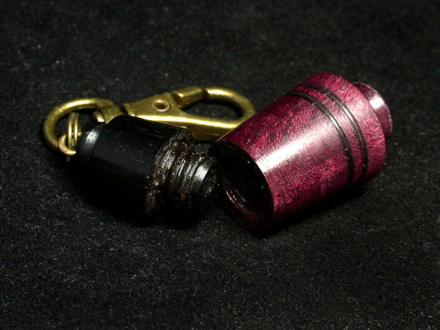 LV-1257 Purpleheart & Blackwood Pill Fob, Pendant, Bag Charm, Cremation Jewelry-SCREW CAP