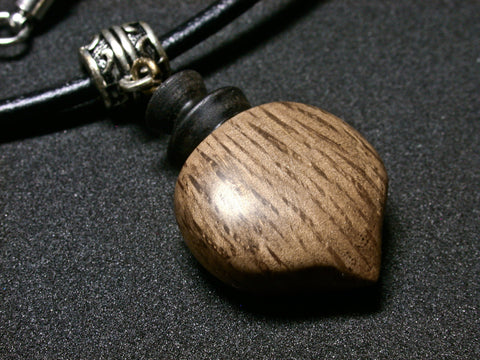 LV-1260 Cork Oak & Ebony Pendant, Charm, Secret Compartment Wooden Jewelry -SCREW CAP