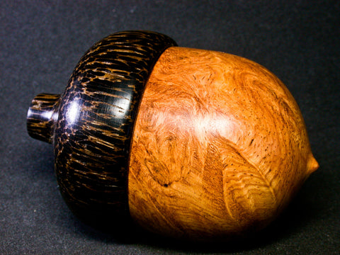 LV-1275 Afzelia Burl & Black Palm Hand Turned Wooden Acorn Trinket Box, Keepsakes, Jewelry Box-SCREW CAP