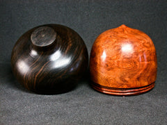 LV-1277 Amboyna Burl & Mun Ebony Hand Turned Acorn Trinket Box, Keepsakes, Jewelry Box-SCREW CAP