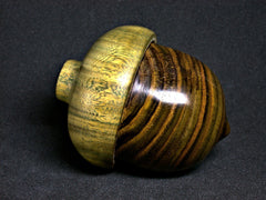 LV-1285 Staghorn Sumac & Verawood Hand Turned Acorn Trinket Box, Keepsakes, Jewelry Box-SCREW CAP