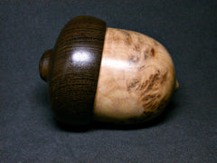 LV-1296 Yellow Box Burl & Panga Panga Hand Turned Acorn Pill Box, Keepsake, Jewelry Box-SCREW CAP