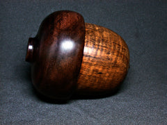 LV-1293 Curly Koa & Brown Ebony Hand Turned Acorn Trinket Box, Keepsakes, Jewelry Box-SCREW CAP