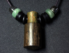 LV-1350 Irish Bog Oak & Verawood Threaded Pendant Necklace, Charm, Secret Compartment, Cremation Jewelry -SCREW CAP