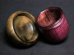LV-1369  Purpleheart & Greenheart Hand Turned Acorn Trinket Box, Keepsakes, Jewelry Box-SCREW CAP