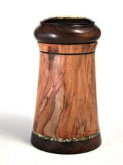 LV-388  Red Tip Photinia & Brown Ebony Wooden Threaded Box,  Lidded Box, Jewelry Box