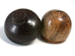 LV-1437 Selasian Wood & Black Palm Wooden Acorn Trinket Box, Keepsakes, Jewelry Box-SCREW CAP