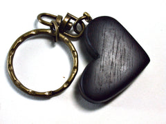 LV-1451  Brazilian Rosewood Heart Shaped Charm, Keychain, Unique Hand Made