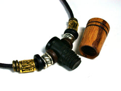 LV-1485  Marblewood & African Blackwood Pendant Necklace, Secret Compartment, Cremation Jewelry -SCREW CAP