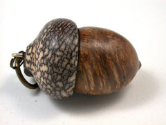 LV-1507  Velvet Tamarind Burl & Betel Nut Acorn Key Fob, Pill, Cash Stash, Cremation Jewelry-SCREW CAP