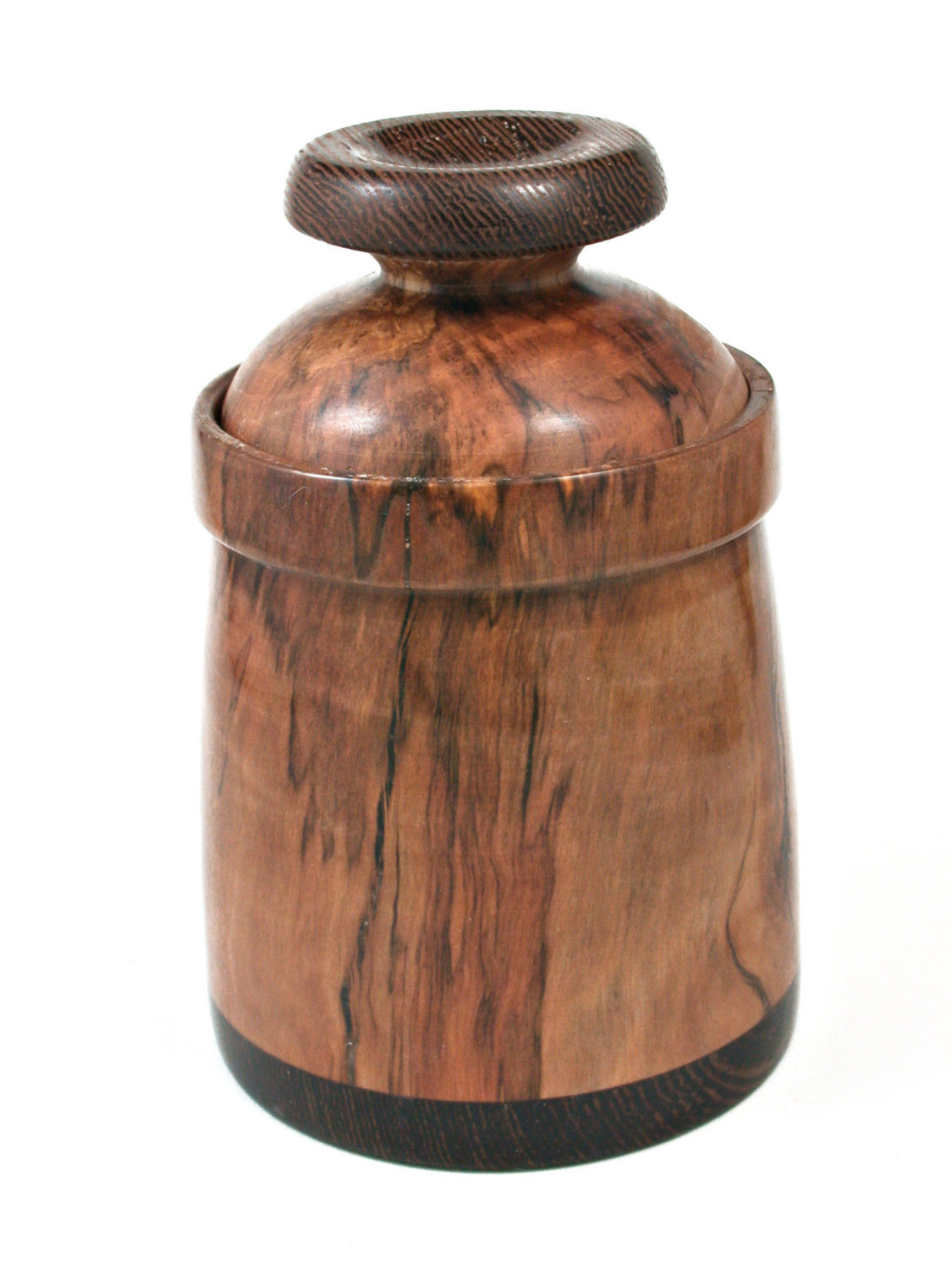 LV-0384  Spalted Photinia & Wenge Wood Turned Lidded Box, Jewelry Box-NICE