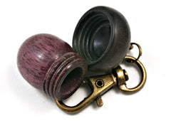 LV-1537 Purpleheart  and  Mun Ebony Acorn Key Fob, Pill Holder, Memorial Pendant-SCREW CAP