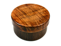 LV-1547 Mun Ebony & Curly Koa Flat Pill Box, Snuff Box, Ring Holder, Trinket Box-SCREW CAP